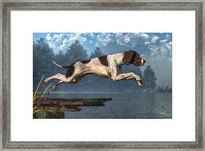 Diving Dog Framed Print by Daniel Eskridge