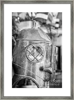 Diving Helmet Key West - Black And White Framed Print