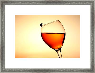 Diving In Red Wine Little People On Food Framed Print by Paul Ge