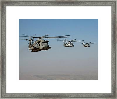 Division Of Ch-53 Flying In Afghanistan Framed Print by Jetson Nguyen