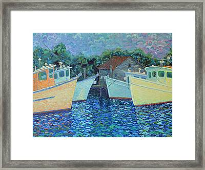 Framed Print featuring the painting Divisionistic Shrimp Boats by Dwain Ray