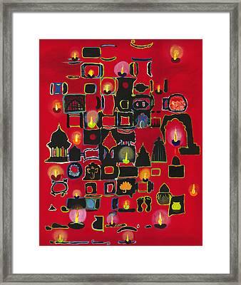 Diwali Diyas Framed Print by Alika Kumar