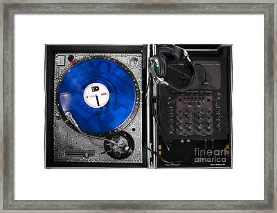 Dj Blue Vinyl Mixing Board Framed Print by Jt PhotoDesign