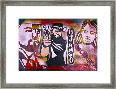 Django Blood Red Framed Print by Tony B Conscious