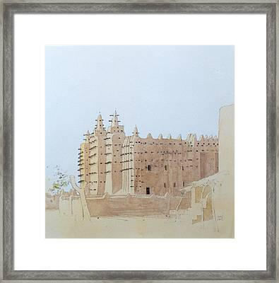 Djenne Mali Grande Mosquee, Tuesday, 2000 Wc On Paper Framed Print by Charlie Millar
