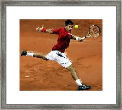 Djokovic French Backhand Framed Print by Brian Menasco