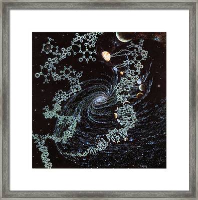 Dna Embraces The Planets Framed Print by Jon  Lomberg