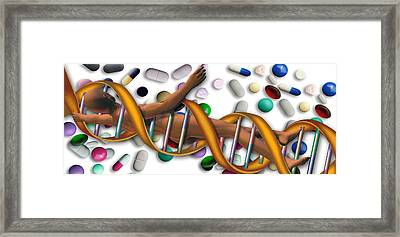 Dna Surrounded By Pills Framed Print by Panoramic Images