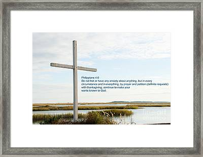 Belin Church Cross At Murrells Inlet With Bible Verse Framed Print