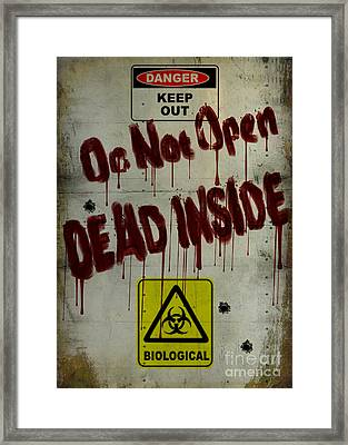 Do Not Open  Framed Print by Cinema Photography