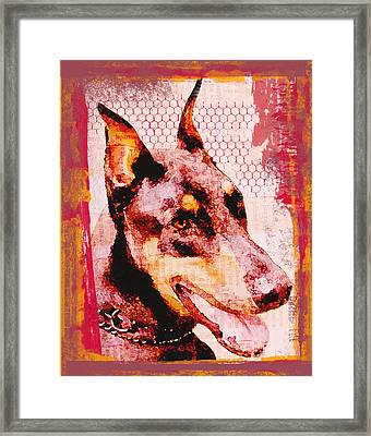 Doberman Love Framed Print