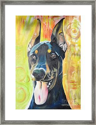 Doberman Framed Print by PainterArtist FIN