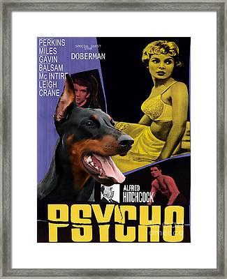 Doberman Pinscher Art Canvas Print - Psycho Movie Poster Framed Print by Sandra Sij