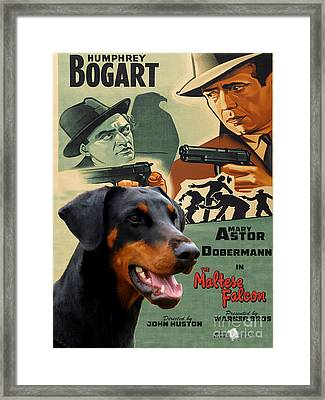 Doberman Pinscher Art Canvas Print - The Maltese Falcon Movie Poster Framed Print by Sandra Sij