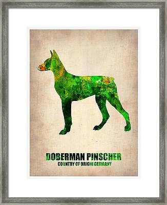Doberman Pinscher Poster Framed Print by Naxart Studio