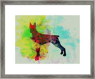 Doberman Pinscher Watercolor Framed Print by Naxart Studio