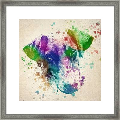 Doberman Splash Framed Print by Aged Pixel