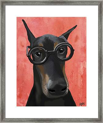 Doberman With Glasses Framed Print by Loopylolly
