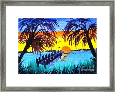 Framed Print featuring the painting Dock At Sunset by Ecinja Art Works