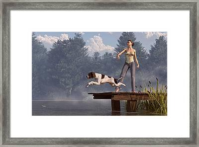 Dock Dog Framed Print by Daniel Eskridge