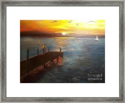 Dock Fishing Framed Print by Ordy Duker