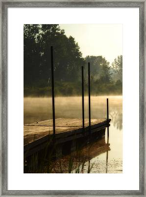 Framed Print featuring the photograph Dock In The Mist by Kimberleigh Ladd