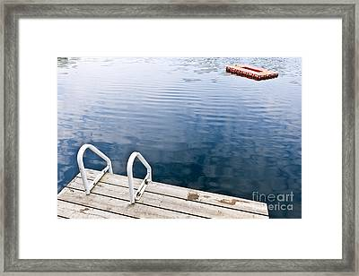 Dock On Calm Summer Lake Framed Print