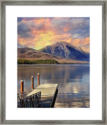 Framed Print featuring the photograph Dock On Lake Mcdonald by Marty Koch