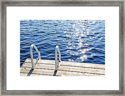 Dock On Summer Lake With Sparkling Water Framed Print by Elena Elisseeva