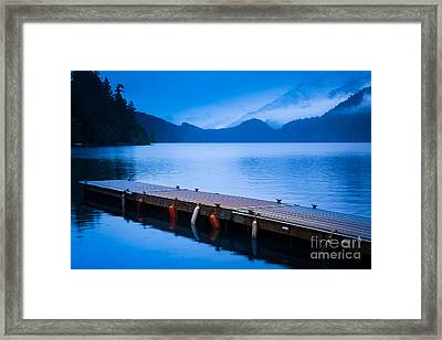 Dock On The Lake Framed Print by Inge Johnsson