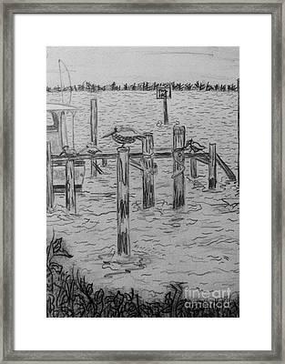 Dock Sketch Framed Print by Megan Dirsa-DuBois