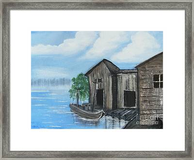 Framed Print featuring the painting Docked At Bayou by Mindy Bench