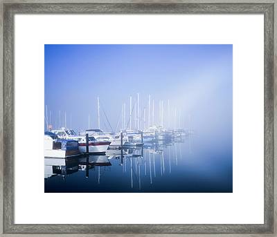 Docked Boats On A Foggy Morning Framed Print