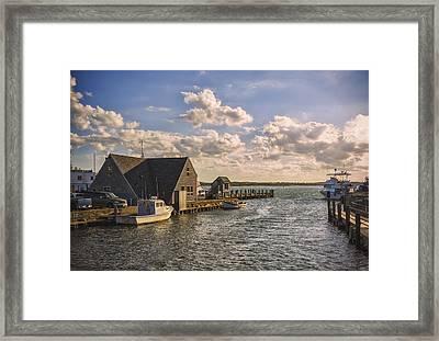Docked Boats Woods Hole Cape Cod Ma  Framed Print