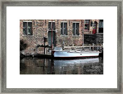 Docked In Bruges Framed Print