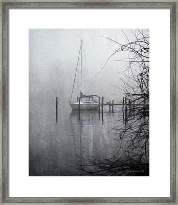 Docked In The Fog - Texture Effect Framed Print by Brian Wallace