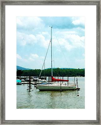 Framed Print featuring the photograph Docked On The Hudson River by Susan Savad