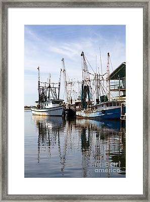 Docked Shrimp Boats Framed Print