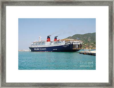 Docking Ferry Skopelos Framed Print