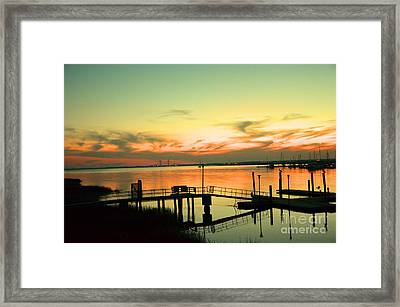 Docks At Dusk Framed Print