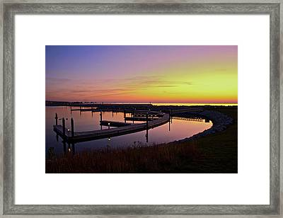 Framed Print featuring the photograph Docks At Sunrise by Jonah  Anderson