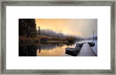 Dockside Sunrise Framed Print by Joel Zak