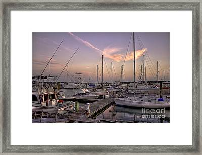 Dockside Sunset In Beaufort South Carolina Framed Print by Reid Callaway