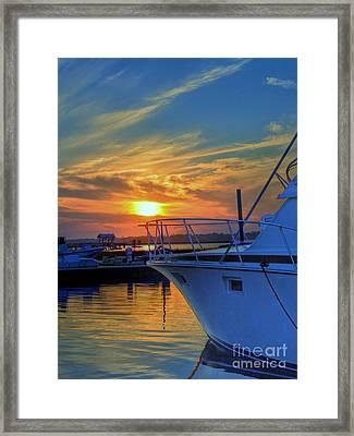 Dockside Sunset Framed Print by Kathy Baccari