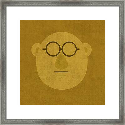Doctor Bunson Honeydew Vintage Minimalistic Illustration On Worn Distressed Canvas Series No 004 Framed Print