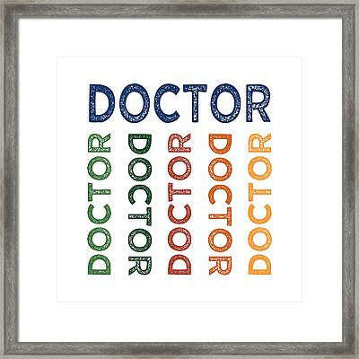 Doctor Cute Colorful Framed Print by Flo Karp