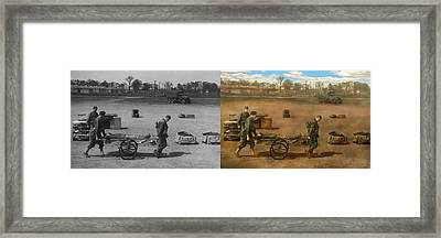 Doctor - Demonstrating A Wheel Litter - Side By Side Framed Print by Mike Savad