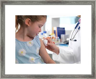 Doctor Giving A Drug Injection Framed Print by Tek Image