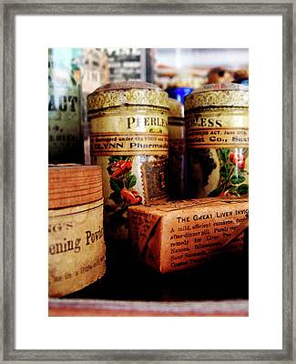 Doctor - Liver Pills In General Store Framed Print by Susan Savad