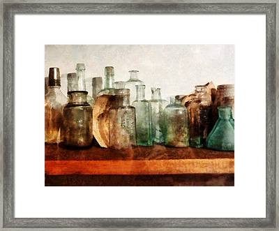 Doctor - Row Of Medicine Bottles Framed Print by Susan Savad